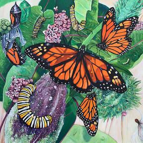 """Kandinsky Monarchs,"" acrylic painting by Kristin Gjerdset"