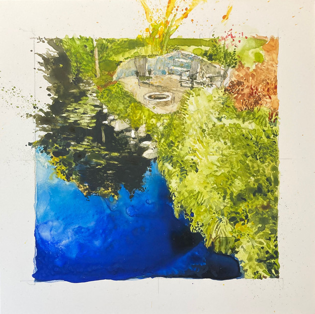 Tom Kubala,Over the Bridge,  Watercolor