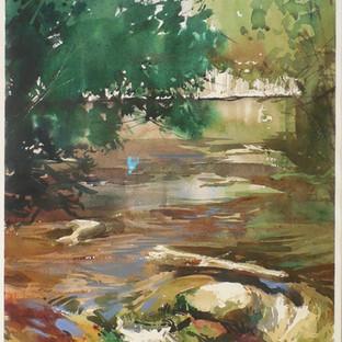 """Steve Puttrich, """"A River Runs Through Cedarburg,"""" 2017, watercolor, 28-1/4 x 21-1/8 x 7/8 inches  Collection Cedarburg Art Museum, Cedarburg Art Museum Collection Fund, 2017.05"""