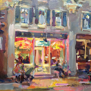 """Tom Nachreiner, """"Evening Ice Cream,"""" 2011, oil on canvas board, 18 x 28 inches  Collection Cedarburg Art Museum, Ozaukee Bank Gift to the Future Fund, 2014.56"""
