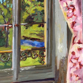 """""""Chateau Window,"""" oil painting by Audrey Dulmes"""