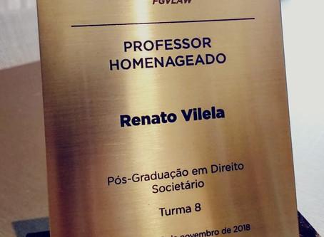 O sócio Renato Vilela foi escolhido como Professor homenageado no GVLaw