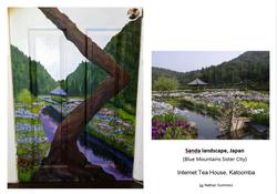 Sanda Landscape, Japan-Cherry Blossom painting-Internet Tea House, Ktmba