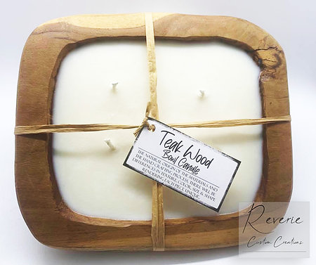 Teak Wood Bowl Candle