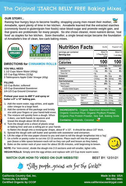 Organic Cinnamon Roll Mix Back Pkg 9-22-