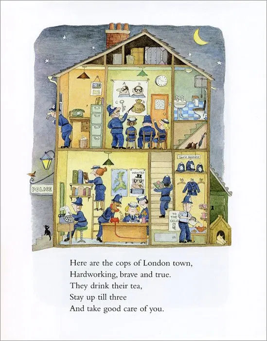 "A page from an illustrated children's book. there is a yellow house with two floors, and each floor has police officers on it. The text on the page reads ""Here are the cops of London. Hardworking brave and true, they sip their tea, stay up till three, and take good care of you."""
