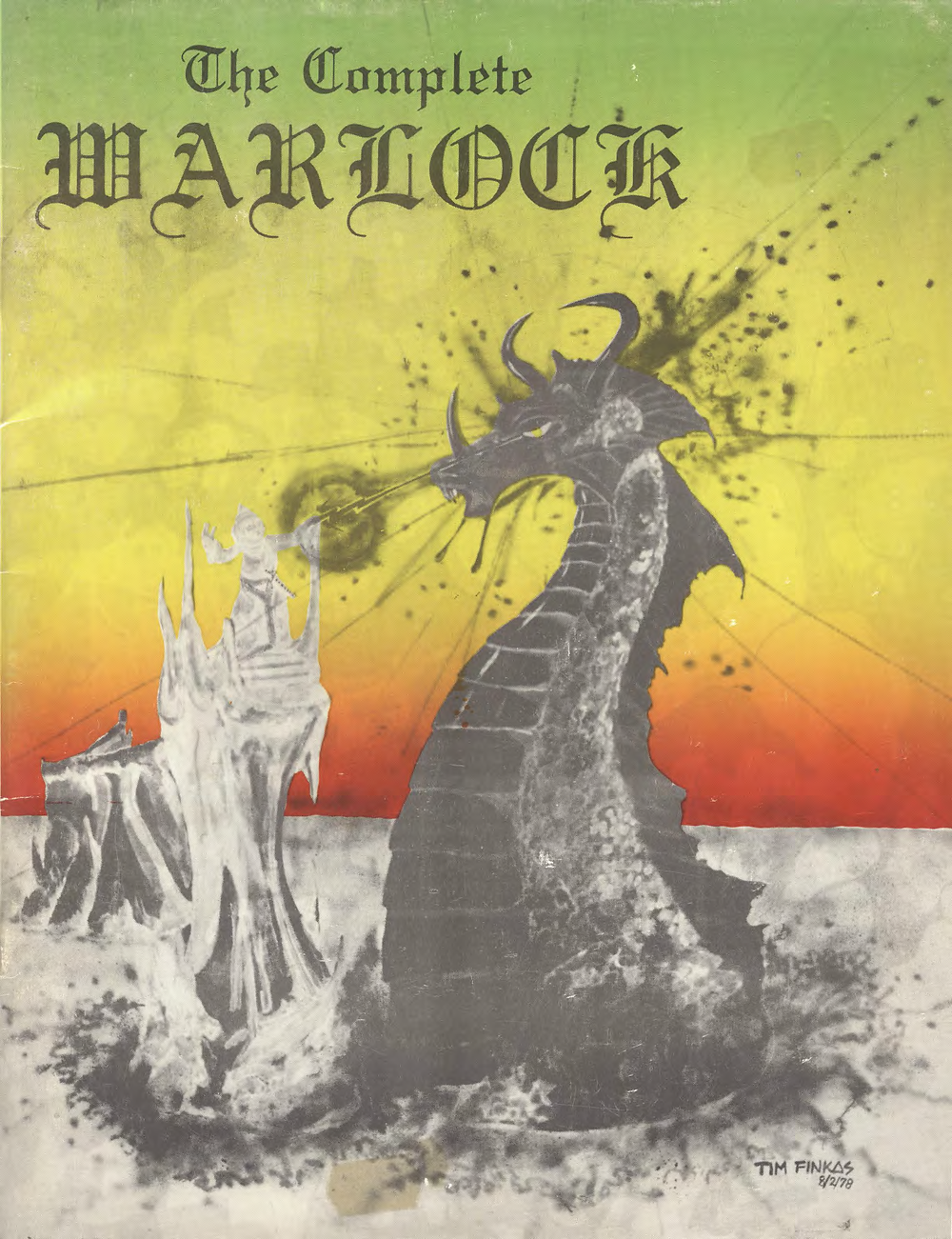 """The front cover of The Complete Warlock, showing a Warlock casting a spell at a large Dragon. Text reads """"The Complete Warlock"""""""