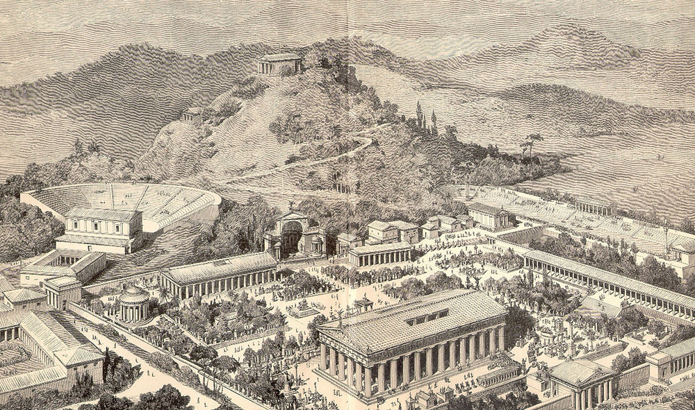 An artist's rendering of Olympia, Greece