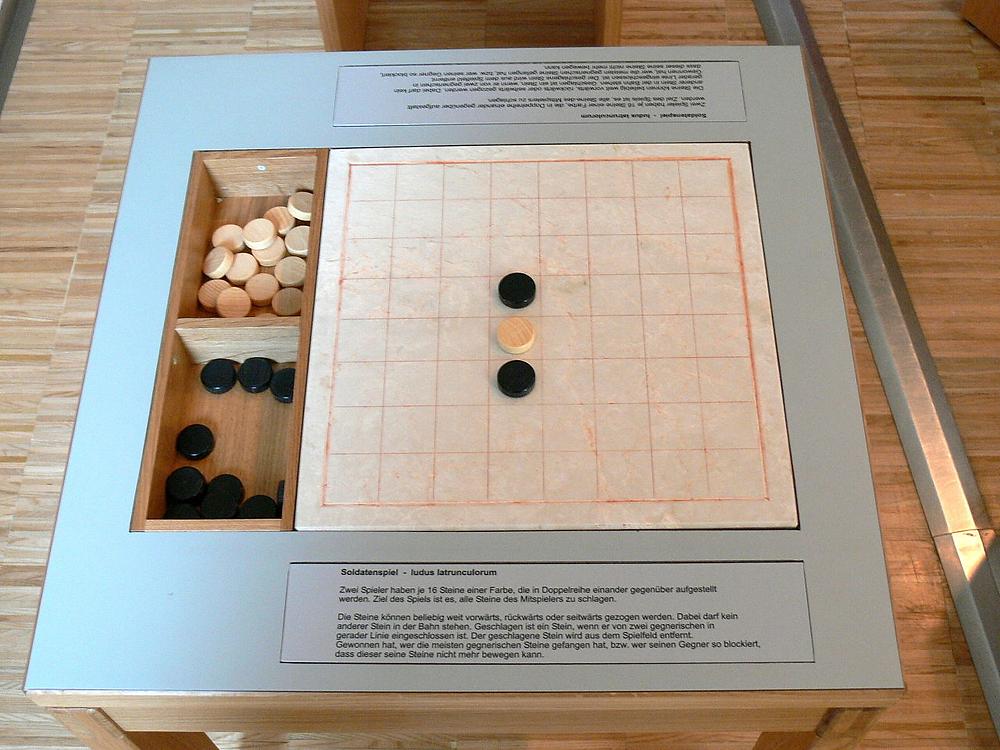 A reconstruction of a Ludus Latruncolorum board.