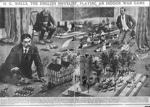 H.G Wells playing a game of Little Wars with an opponent and Umpire present.