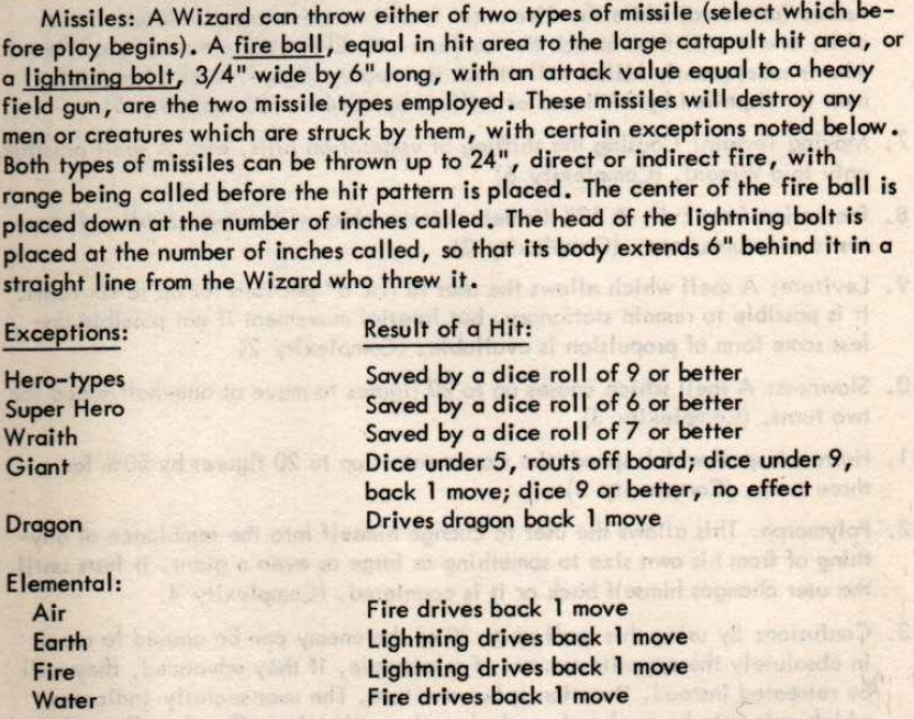 The section from Chainmail on Saving Throws