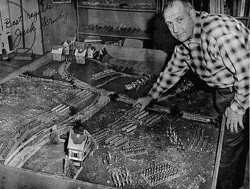 Jack Scruby playing a war game in 1962.