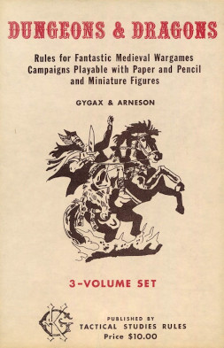 """The front of the Dungeons & Dragons game. Text reads """"Dungeons & Dragons Rules for Fantastic Medieval Wargames Campaigns Playable with Paper and Pencil and Miniature Figures GYGAX & ARNESON 3-Volume Set Published By TACTICAL STUDIES RULES Price $10.00"""""""