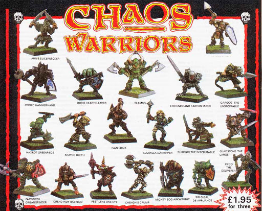 Chaos Warriors advertised in a 1986 issue of White Dwarf magazine by Games Workshop