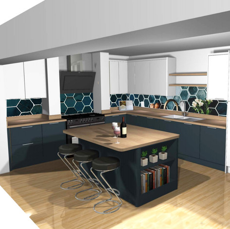 Hexagonal Tile CAD full kitchen projection