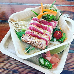 Seared Ahi with rice noodles, steamed ve