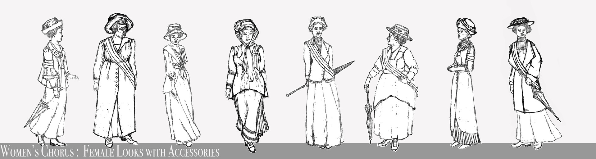 Women's Chorus Female Looks w/Hats & Sashes