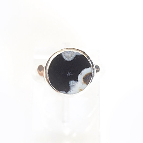 SILVER ROUND RING-flower agate