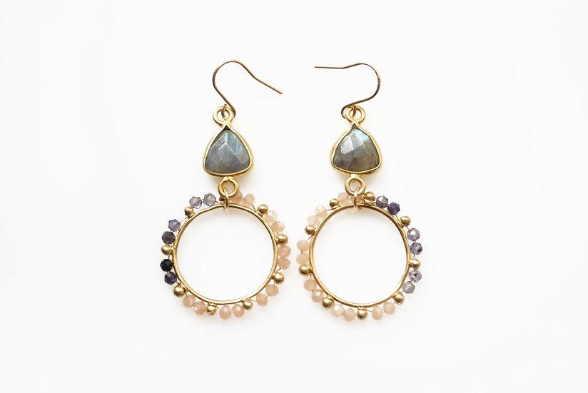 Peach dot circle earrings