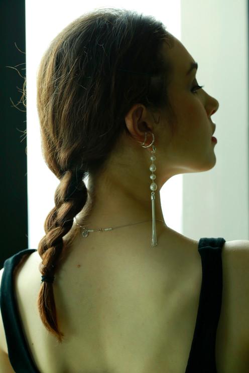 Pearl silver tassel long earring