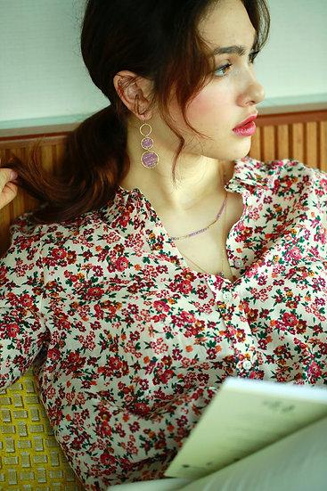 Pink sapphire 3 rings earring