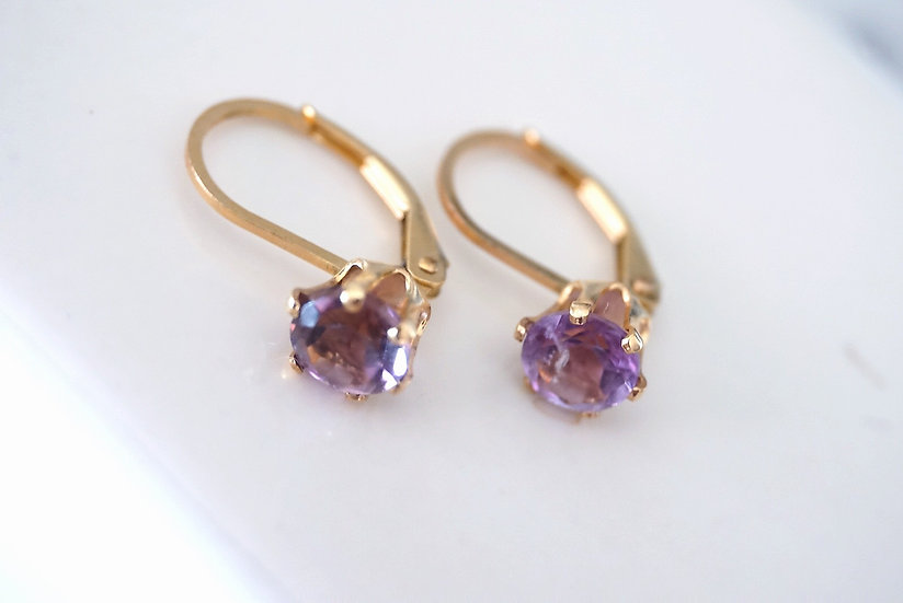 Pink amethyst german earring