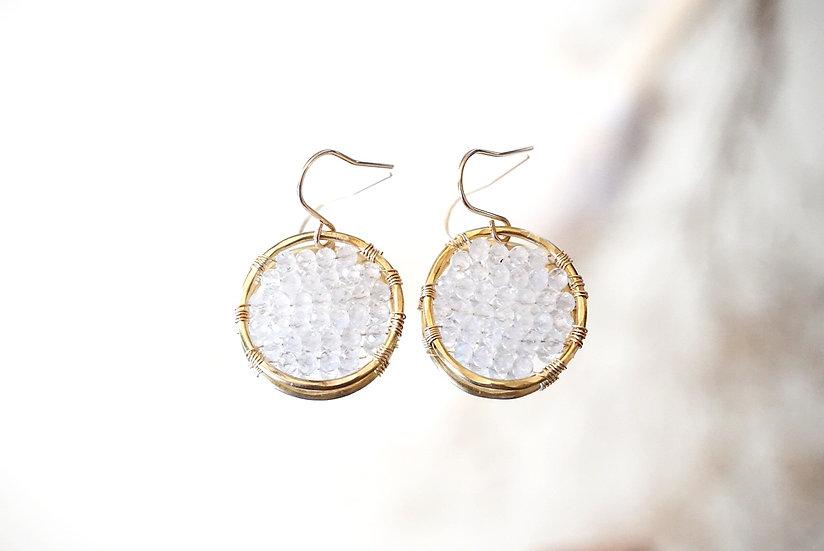 Moonstone single ring earring