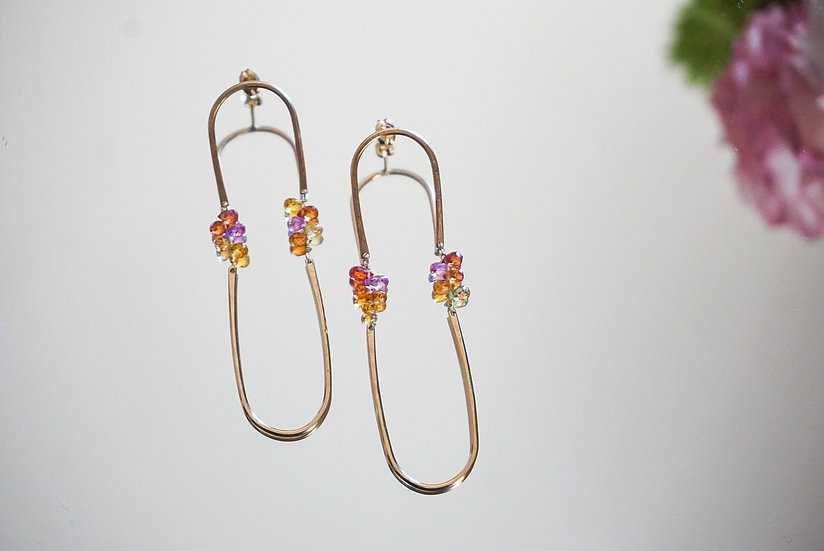 Sapphire long hoop earring- pink orange