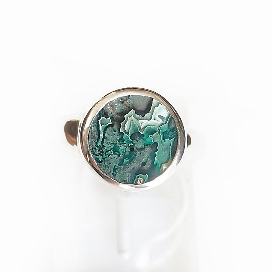 SILVER ROUND GEM RING- chrysocollalace