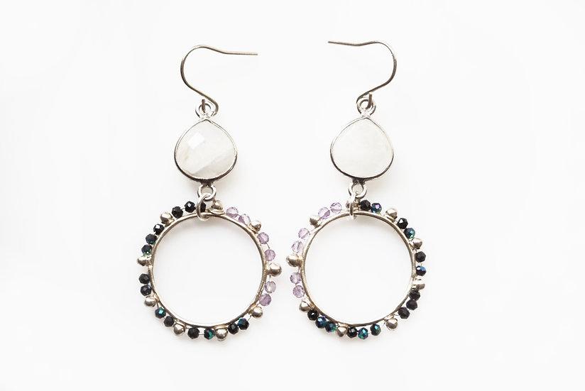 BLACK x PURPLE dot circle earring