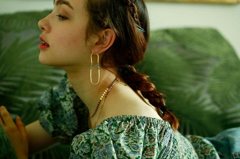 Sapphire long hoop earring- blue green