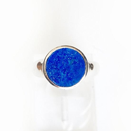 SILVER ROUND GEM RING-lapis lazuli