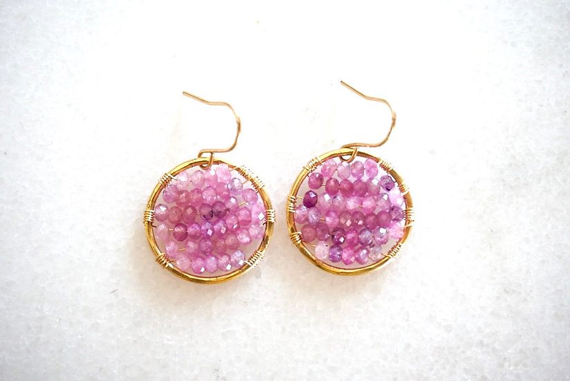 Pink sapphire single ring earring