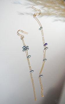 Sapphire flower chain earring- blue green