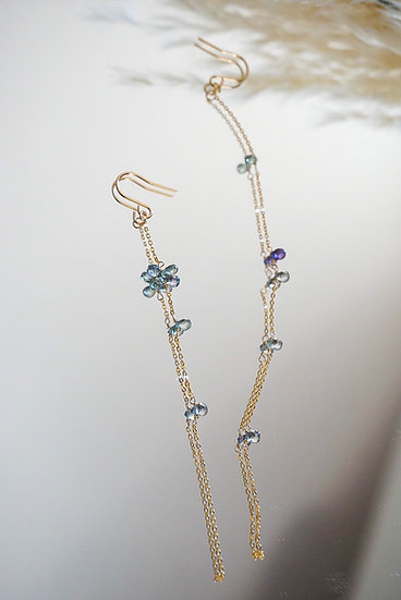 Sapphire long chain earring- blue green