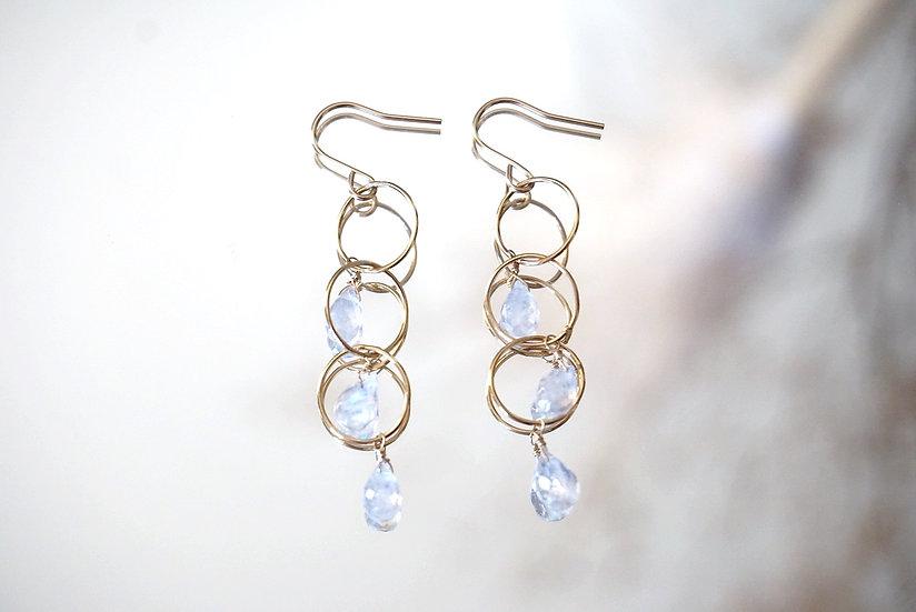 Moonstone 3 drops earring