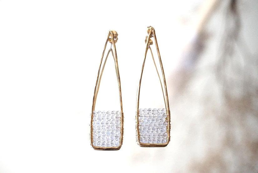 Moonstone acute earring