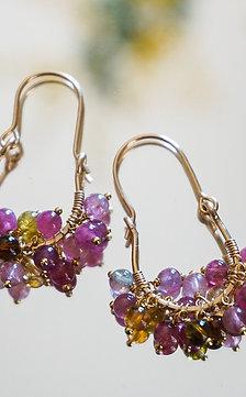 Ripe tourmaline earring- pink