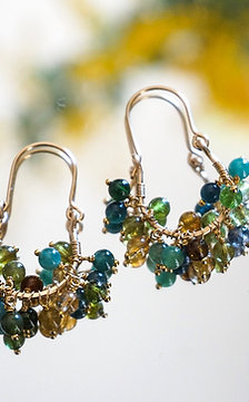 Ripe tourmaline earring- green
