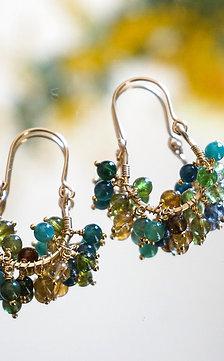 Ripe tourmaline earring- green