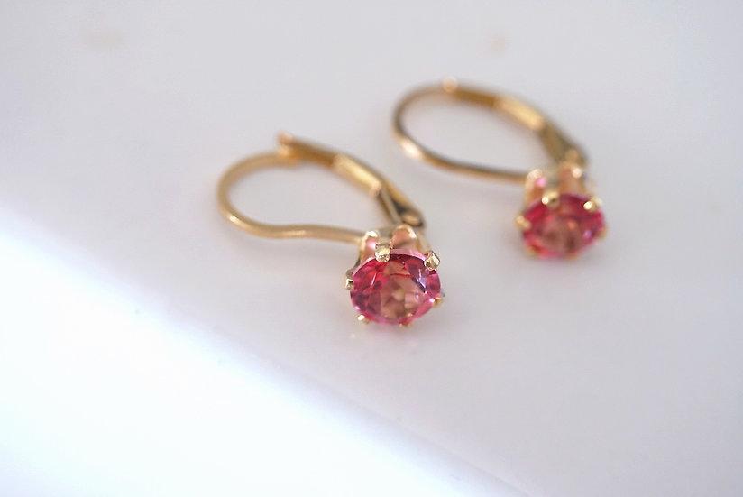 Pink topaz german earring