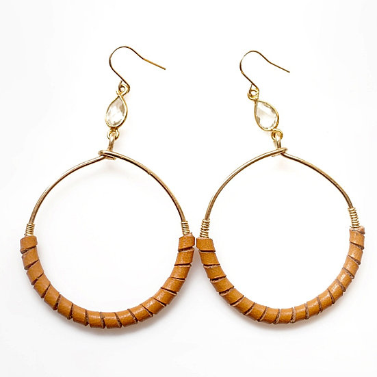 LEATHER HOOP EARRING