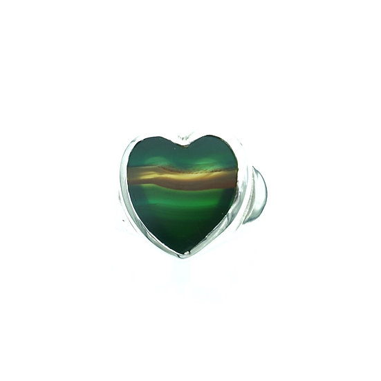 GEM HEART SILVER RING-picture agate