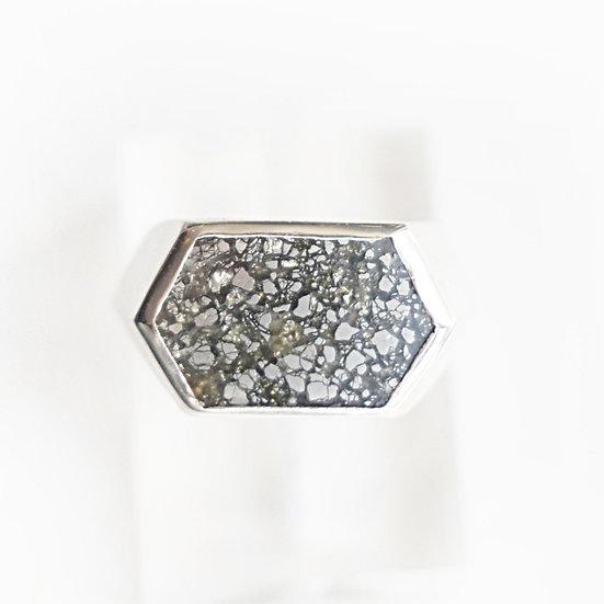 SILVER HEXAGON GEM RING-Pyrite