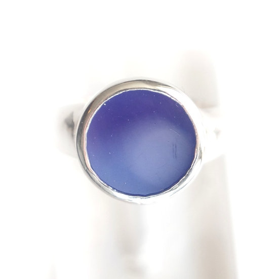 SILVER ROUND GEM RING- Picture agate