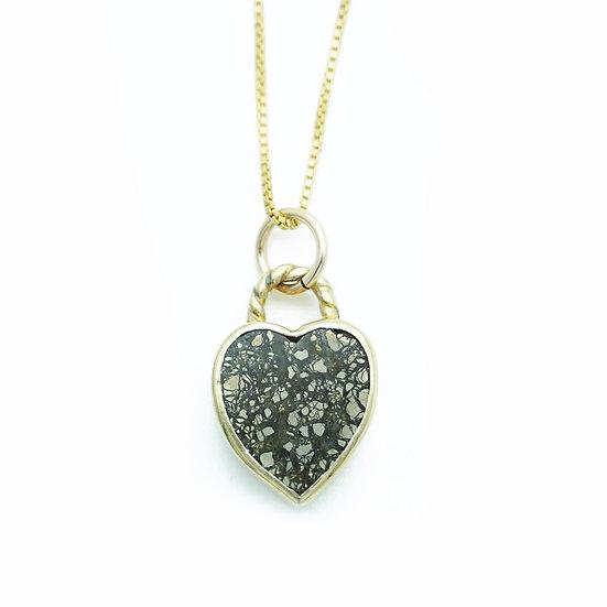 GEM HEART PENDANT NECKLACE- Pyrite