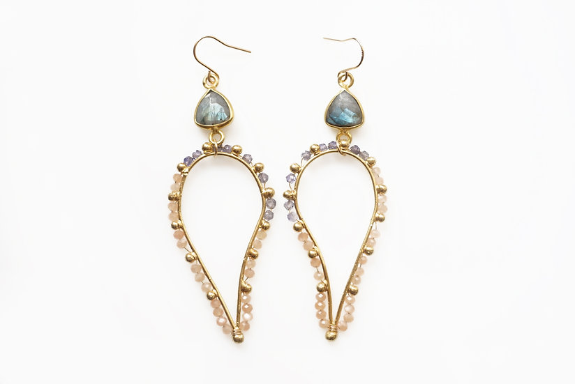 Peach dot paisley earrings