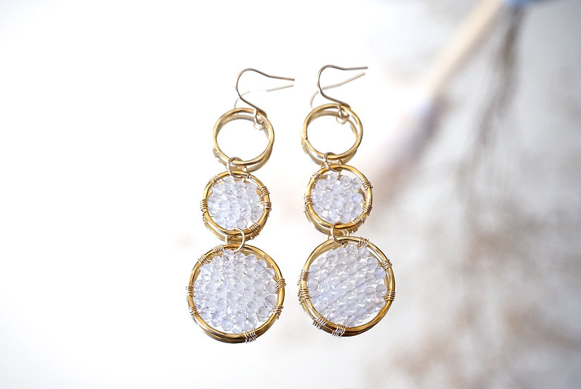 Moonstone 3 rings earring