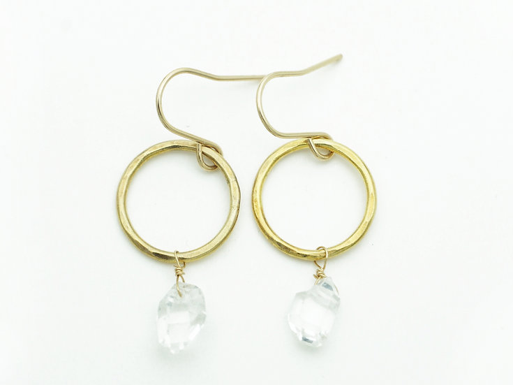 HERKIMER DIAMOND RING EARRING