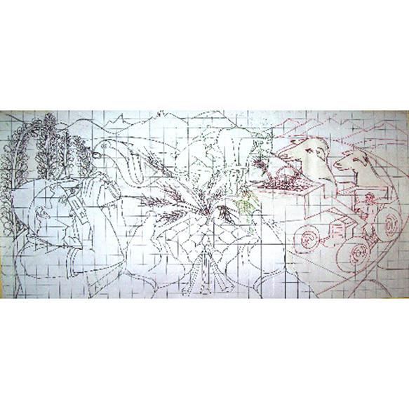 Boceto Mural Agricultura y Ganadería en Trevelin